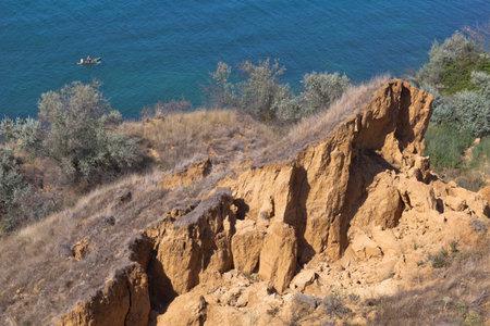 Uchkuevsky landslide on the Black Sea coast in the city of Sevastopol, Crimea, Russia
