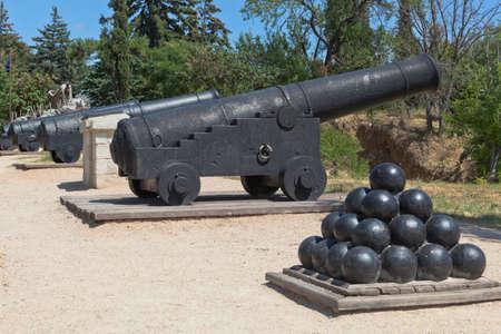 Sevastopol, Crimea, Russia - July 27, 2020: Battery No. 17 Senyavin in the memorial complex Malakhov Kurgan of the Hero City of Sevastopol, Crimea