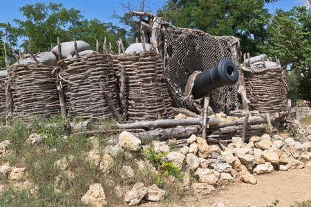 Sevastopol, Crimea, Russia - July 27, 2020: Senyavin's battery in the memorial complex Malakhov Kurgan of the Hero City of Sevastopol, Crimea