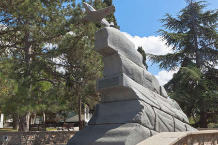 Sevastopol, Crimea, Russia - July 27, 2020: Monument to the pilots of the 8th Air Army in the memorial complex Malakhov Kurgan in the hero city of Sevastopol, Crimea