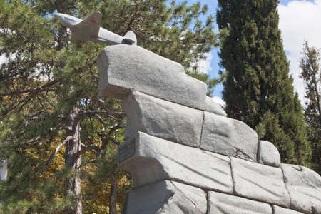 Sevastopol, Crimea, Russia - July 27, 2020: Monument to the pilots of the 8th Air Army on Malakhov Kurgan in the hero city of Sevastopol, Crimea