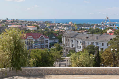 Sevastopol, Crimea, Russia - July 27, 2020: View from the main staircase of the memorial complex Malakhov Kurgan on the city of Sevastopol, Crimea Editorial