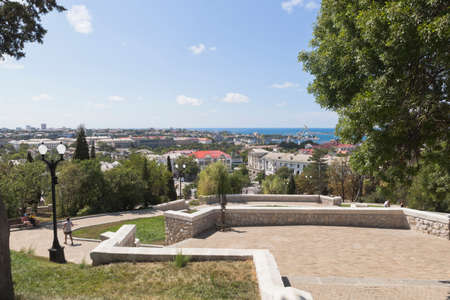 Sevastopol, Crimea, Russia - July 27, 2020: Observation deck on the main staircase of the memorial complex Malakhov Kurgan in the hero city of Sevastopol, Crimea