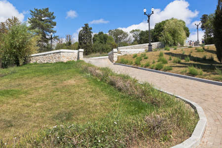 Sevastopol, Crimea, Russia - July 27, 2020: Ramp-stairs with viewing platforms in the memorial complex Malakhov Kurgan in the hero city of Sevastopol, Crimea Editorial
