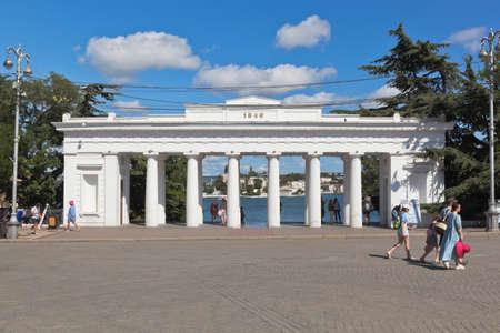 Sevastopol, Crimea, Russia - July 27, 2020: View of the Grafskaya pier from Nakhimov square in the city of Sevastopol, Crimea