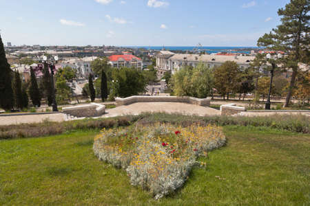 Sevastopol, Crimea, Russia - July 27, 2020: View from the observation deck of the main staircase of the memorial complex Malakhov Kurgan in the hero city of Sevastopol, Crimea