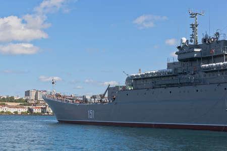 Sevastopol, Crimea, Russia - July 27, 2020: Large landing ship Azov in the Sevastopol Bay, Crimea