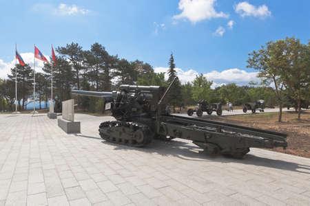 Sevastopol, Crimea, Russia - July 28, 2020: High-power cannon Br-2 during the Great Patriotic War in the memorial complex Sapun-Gora in the hero city of Sevastopol, Crimea
