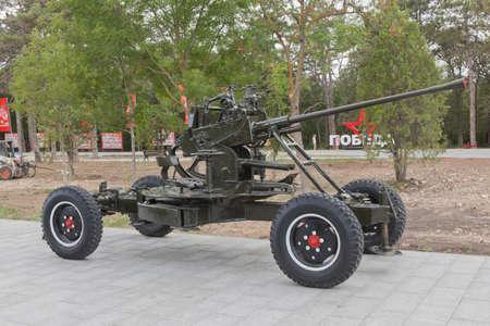 Sevastopol, Crimea, Russia - July 28, 2020: Soviet 37-mm automatic anti-aircraft gun 61-K model 1939 in the memorial complex Sapun-Gora in the hero city of Sevastopol, Crimea