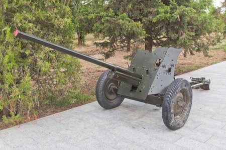 Sevastopol, Crimea, Russia - July 28, 2020: Anti-tank 45 mm gun M-42 sample 1942 in the memorial complex Sapun-Gora in the hero city of Sevastopol, Crimea