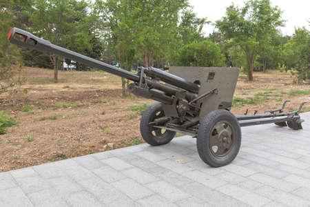 Sevastopol, Crimea, Russia - July 28, 2020: Soviet 76-mm divisional gun ZiS-3 model 1942 in the memorial complex Sapun-Gora in the hero city of Sevastopol, Crimea