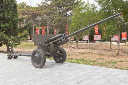 Sevastopol, Crimea, Russia - July 28, 2020: Soviet 57-mm anti-tank gun ZIS-2 of the period of the Great Patriotic War in the memorial complex Sapun-Gora in the hero city of Sevastopol, Crimea Editorial