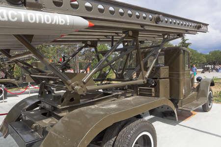 Sevastopol, Crimea, Russia - July 28, 2020: BM-13-16 Katyusha multiple launch rocket system in the memorial complex Sapun-Gora in the hero city of Sevastopol, Crimea Editorial