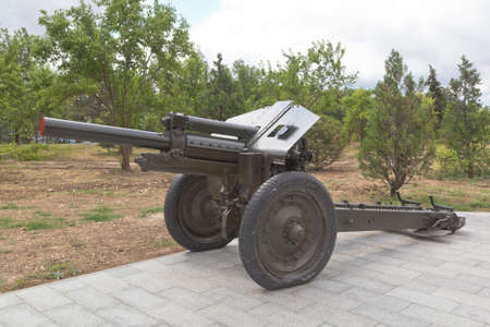 Sevastopol, Crimea, Russia - July 28, 2020: Soviet 122-mm howitzer M-30 model 1938 in the memorial complex Sapun-Gora in the hero city of Sevastopol, Crimea