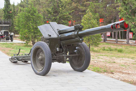 Sevastopol, Crimea, Russia - July 28, 2020: Soviet 152-mm howitzer D-1 model 1943 in the memorial complex Sapun-Gora in the hero city of Sevastopol, Crimea