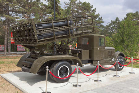 Sevastopol, Crimea, Russia - July 28, 2020: Reactive multiple launch rocket system BM-31-12 Andryusha on the chassis of the ZiS-12 car in the memorial complex Sapun-Gora in the hero city of Sevastopol, Crimea