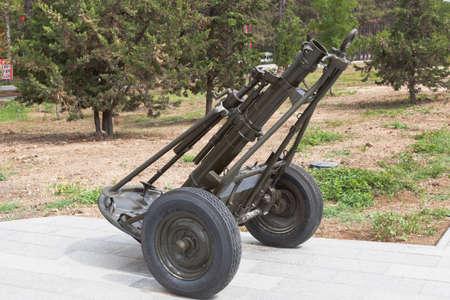 Sevastopol, Crimea, Russia - July 28, 2020: Regimental mortar of 120 mm caliber sample 1938 in the memorial complex Sapun-Gora in the hero city of Sevastopol, Crimea