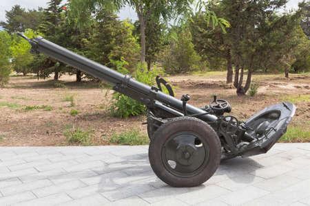 Sevastopol, Crimea, Russia - July 28, 2020: Divisional mortar MT-13 / M-43 model 1943 in the memorial complex Sapun-Gora in the hero city of Sevastopol, Crimea