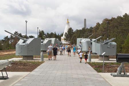 Sevastopol, Crimea, Russia - July 28, 2020: Exposition of naval equipment in the memorial complex Sapun Gora in the hero city of Sevastopol, Crimea Editorial