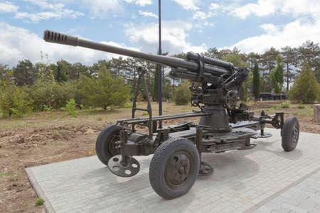 Sevastopol, Crimea, Russia - July 28, 2020: Anti-aircraft 85-mm cannon 52-K sample 1939 in the memorial complex Sapun-Gora in the hero city of Sevastopol, Crimea