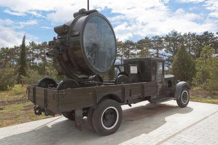 Sevastopol, Crimea, Russia - July 28, 2020: Anti-aircraft searchlight installation Z-15-14 on the chassis of a ZiS-12 truck in the memorial complex Sapun-Gora in the hero city of Sevastopol, Crimea