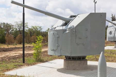 Sevastopol, Crimea, Russia - July 28, 2020: Soviet 85-mm universal naval gun 90-K sample 1941 in the memorial complex Sapun-Gora in the hero city of Sevastopol, Crimea