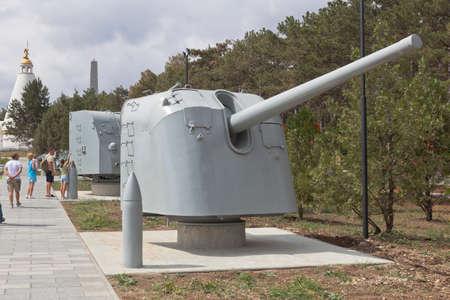 Sevastopol, Crimea, Russia - July 28, 2020: Soviet 130-mm naval gun B-13 model 1935 in the exposition of naval equipment of the memorial complex Sapun-Gora in the hero city of Sevastopol, Crimea