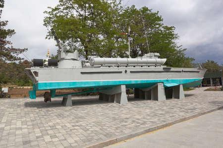 Sevastopol, Crimea, Russia - July 28, 2020: Torpedo boat 123-K Komsomolets in the memorial complex Sapun-Gora in the hero city of Sevastopol, Crimea