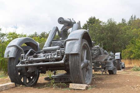 Sevastopol, Crimea, Russia - July 28, 2020: Carriage of heavy German 211-mm mortars of the 1918 model in the memorial complex Sapun-Gora in the hero city of Sevastopol, Crimea