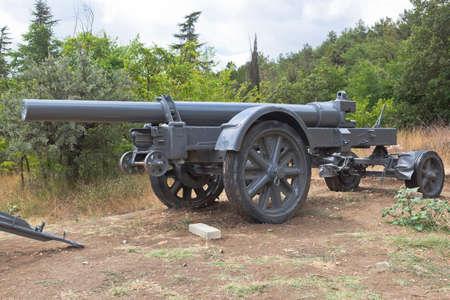 Sevastopol, Crimea, Russia - July 28, 2020: Heavy German 211-mm mortar of the 1918 model in the memorial complex Sapun-Gora in the hero city of Sevastopol, Crimea Editorial
