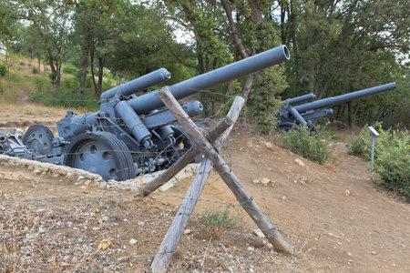 Sevastopol, Crimea, Russia - July 28, 2020: German heavy field howitzers of 150 mm sFN 18 model 1918 on Sapun Mountain in the hero city of Sevastopol, Crimea