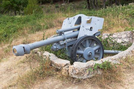 Sevastopol, Crimea, Russia - July 28, 2020: German light field 105 mm howitzer LeFN 18/40 in the memorial complex Sapun-Gora in the hero city of Sevastopol, Crimea