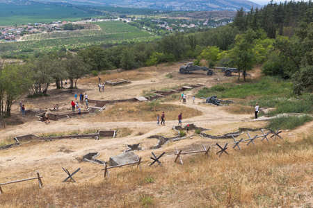 Sevastopol, Crimea, Russia - July 28, 2020: Open exhibition of defensive fortifications and captured artillery of German troops on Sapun Mountain in the hero city of Sevastopol, Crimea