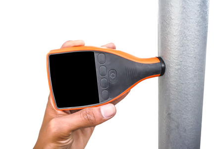 thickness: Coating thickness gauge for measuring the thickness of the coating film. Stock Photo