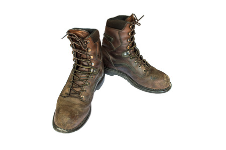 Old brown leather steel toe work  boots men\ photo