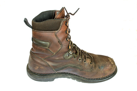work boots: Old brown leather steel toe work  boots men\