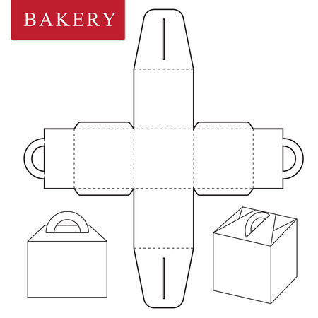 Plantilla de paquete para alimentos de panadería u otros artículos.