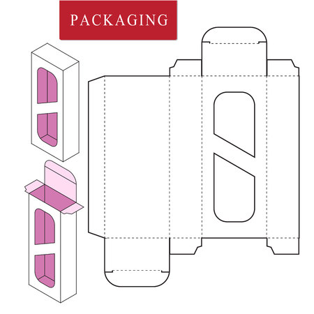 Package for object.Vector Illustration of Box.Package Template. Isolated White Retail Mock up.