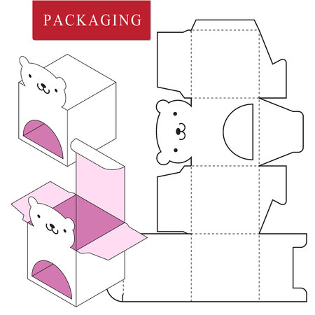 Packaging Design.Vector Illustration of Box.Package Template. Isolated White Retail Mock up.