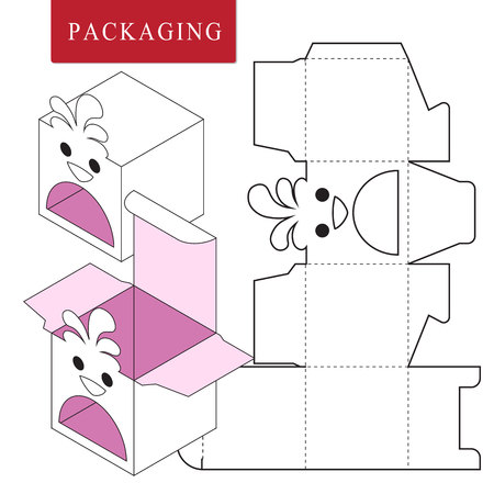 Packaging Design.Vector Illustration of Box.Package Template. Isolated White Retail Mock up. Stok Fotoğraf - 123282349