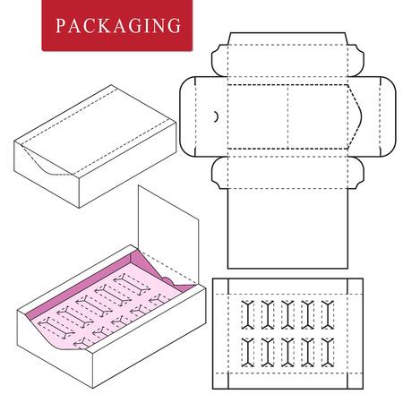 Paket auf Paket (PoP). Verpackung für Kosmetik- oder Hautpflegeprodukte. Vektorgrafik