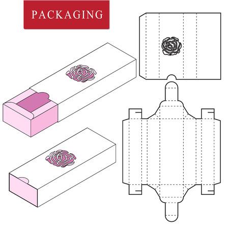 Illustration vectorielle du modèle Box.Package. Maquette de vente au détail blanche isolée. Pas de colle.