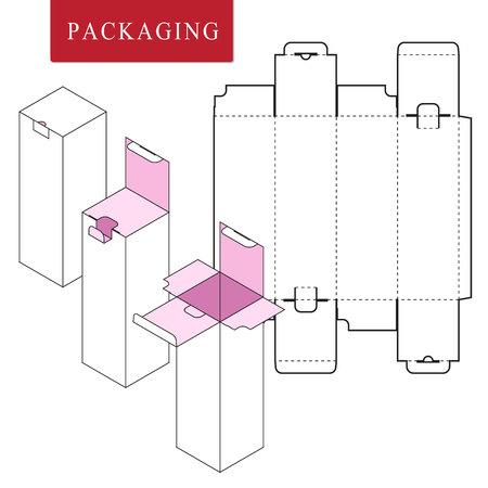 Illustration vectorielle du modèle Box.Package. Maquette de vente au détail blanche isolée. Pas de colle. Vecteurs