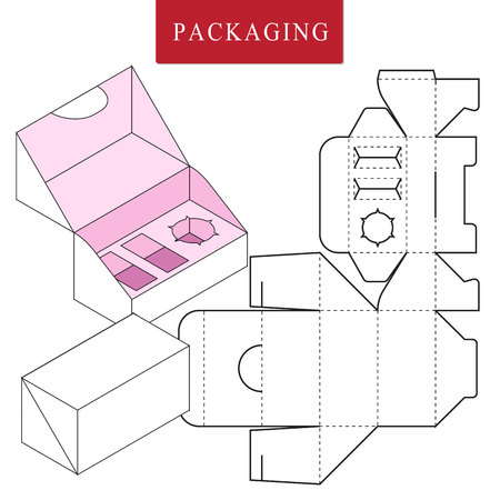 Vector Illustration of Box.Package Template. Isolated White Retail Mock up.No glue. Çizim