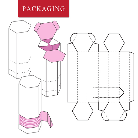 Package for bakery. Vector Illustration of Box.Package Template. Isolated White Retail Mock up. Çizim