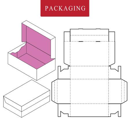 Vektor-Illustration der Box.Package-Vorlage. Isolierte weiße Einzelhandels-Mock-up.