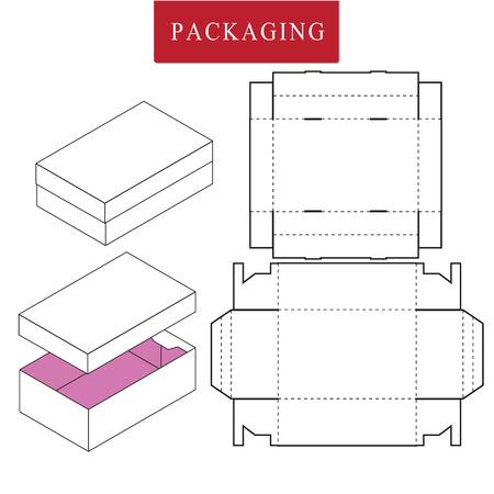 Ilustración de vector de plantilla de paquete de caja. Maqueta minorista blanca aislada.