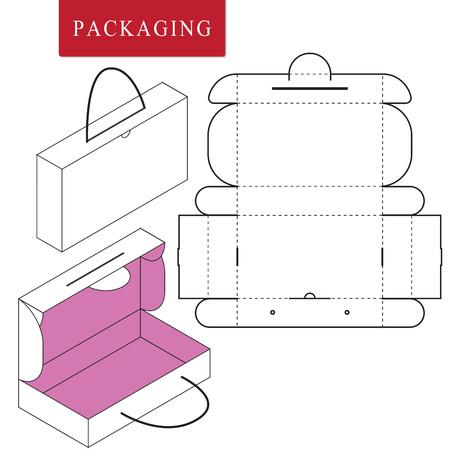 Illustration vectorielle de la boîte à poignées. Modèle de paquet. Maquette de vente au détail blanche isolée.