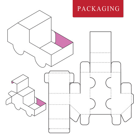 Package template transportation concept.Package Template. Isolated White Retail Mock up. Illusztráció