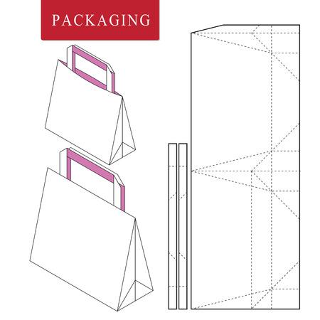 Plantilla de empaquetado de bolsa para llevar. Ilustración vectorial de empaquetado. Mock up minorista blanco aislado.